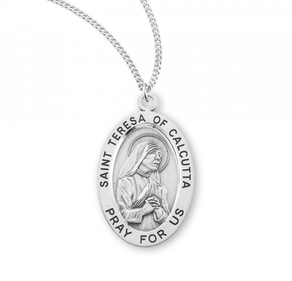 St. Teresa of Calcutta Oval Medal - Sterling Silver
