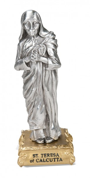 Saint Mother Teresa of Calcutta Pewter Statue 4 Inch - Pewter