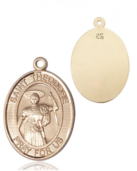 St. Theodore Stratelates Pendant - 14K Yellow Gold