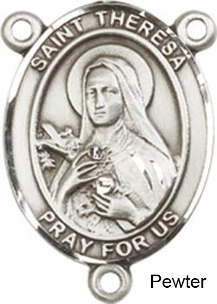 St. Theresa Sterling Rosary Centerpiece Sterling Silver or Pewter - Pewter