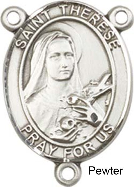St. Therese of Lisieux Rosary Centerpiece Sterling Silver or Pewter - Pewter