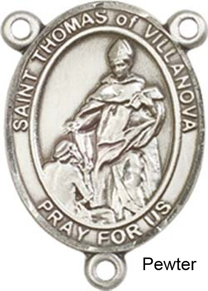 St. Thomas of Villanova Rosary Centerpiece Sterling Silver or Pewter - Pewter