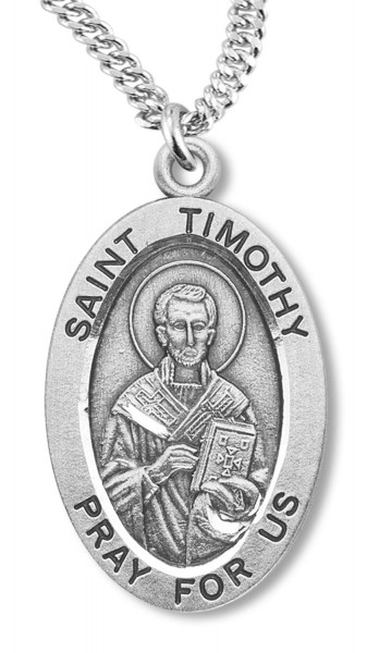 St. Timothy Medal Sterling Silver - Silver