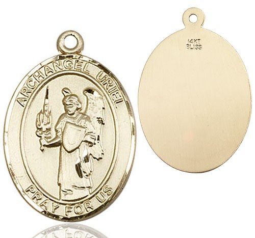 Archangel Uriel Medal - 14K Yellow Gold