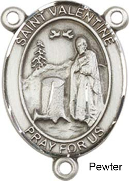 St. Valentine of Rome Rosary Centerpiece Sterling Silver or Pewter - Pewter