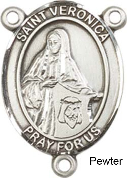 St. Veronica Rosary Centerpiece Sterling Silver or Pewter - Pewter