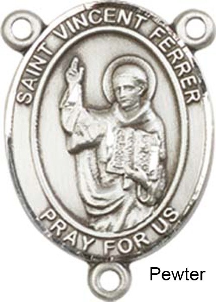 St. Vincent Ferrer Rosary Centerpiece Sterling Silver or Pewter - Pewter
