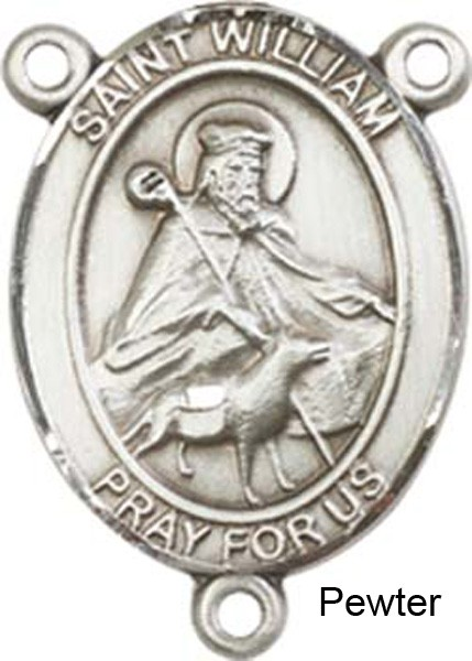 St. William of Rochester Rosary Centerpiece Sterling Silver or Pewter - Pewter