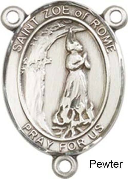 St. Zoe of Rome Rosary Centerpiece Sterling Silver or Pewter - Pewter