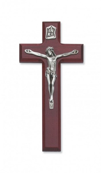 Stained Cherry Crucifix 7 inch - Silver