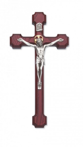 Stained Cherry Crucifix 8 inch - Silver