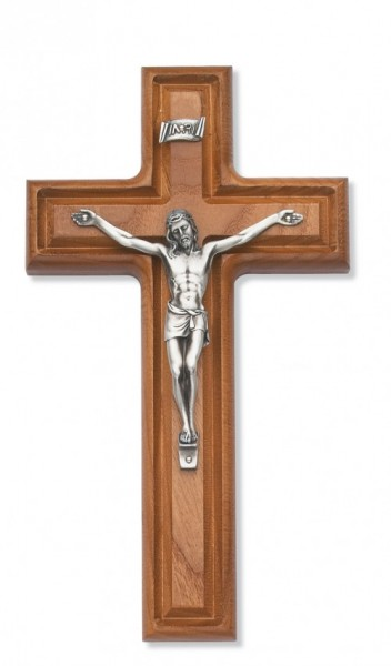 Grooved Cross in Cross Stained Walnut Wall Crucifix 10 inch - Silver