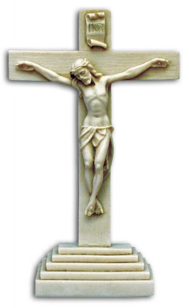 Standing Antiqued Alabaster Crucifix 10 1/2 Inches - Antique White Finish