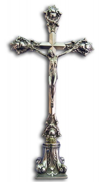 Standing Crucifix in Shiny Brass - 15.75 Inches - Brass