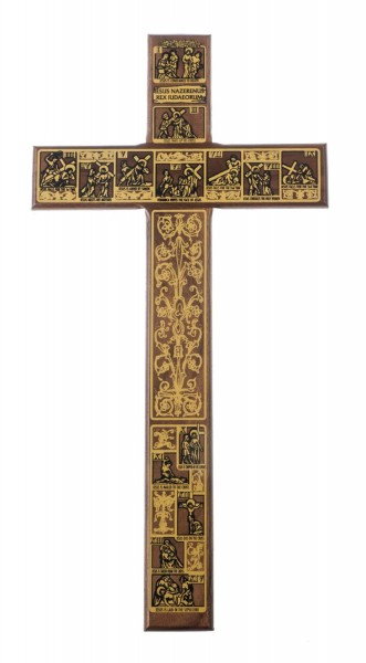 "Stations of The Cross Walnut Wood Wall Cross 12"" - Brown"