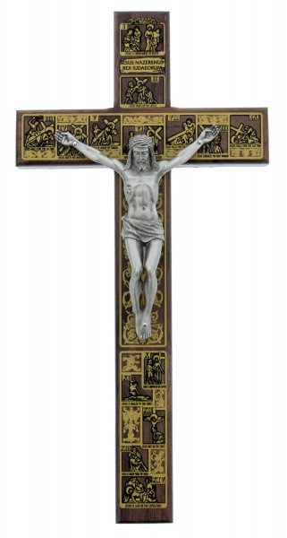 "Stations of the Cross Crucifix - 12"" - Brown 