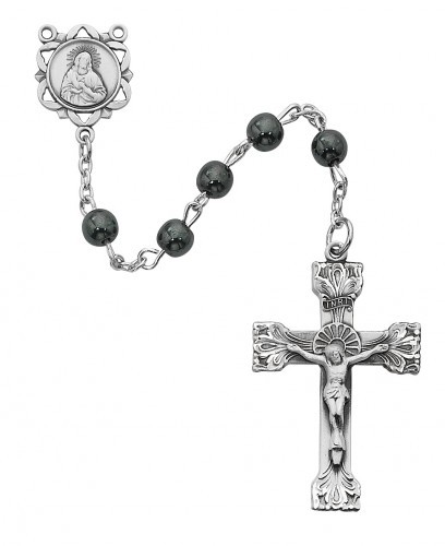 Sterling Silver 6mm Genuine Hematite Rosary - Silver