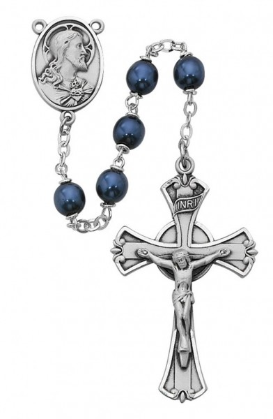 Sterling Silver Blue Metallic Glass Rosary - Blue