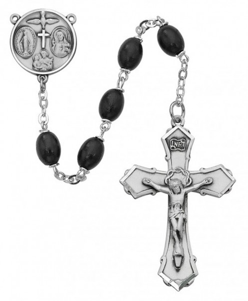 Sterling Silver Boys Confirmation Rosary in Black - Black