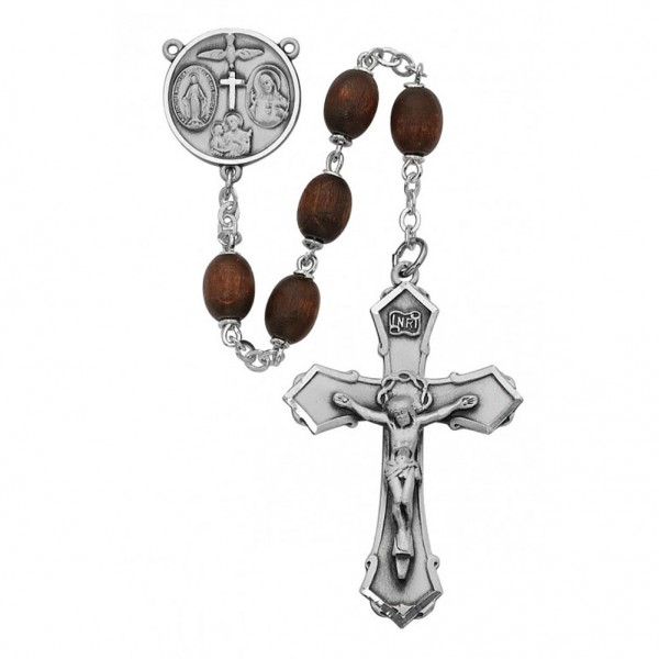 Sterling Silver Boys Confirmation Rosary in Brown - Brown