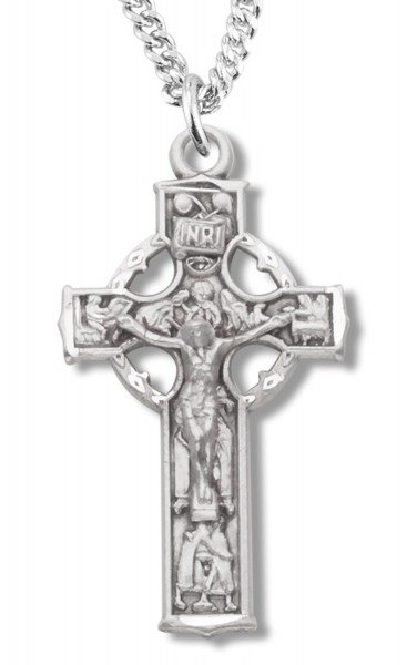 Sterling Silver Celtic Crucifix Pendant - Sterling Silver