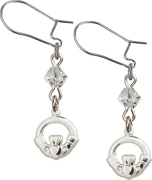 Sterling Silver Claddagh 'Crystal Bead' Earrings - Sterling Silver