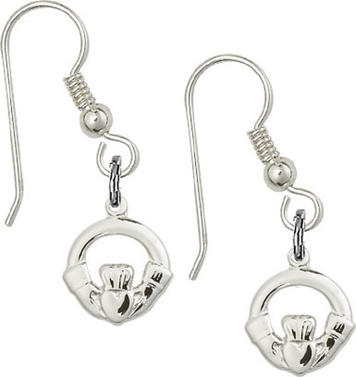 Sterling Silver Claddagh French Wire Earrings - Sterling Silver