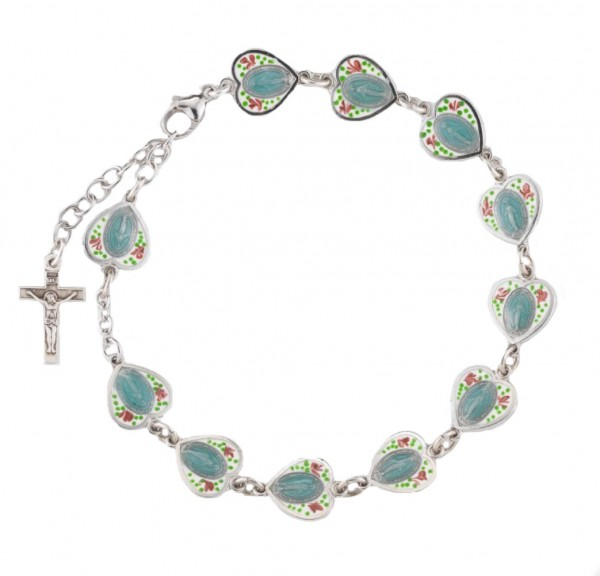 Sterling Silver Cloisonne Enameled Miraculous Rosary Bracelet - Multi-Color