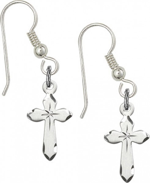 Sterling Silver Cross French Wire Earrings - Sterling Silver
