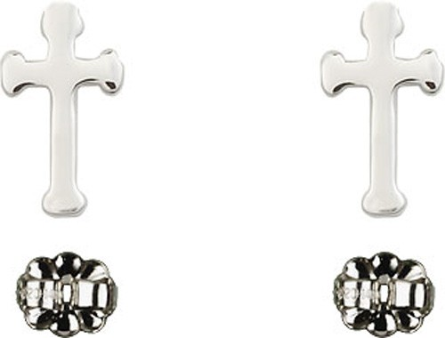Sterling Silver Cross Post Earrings - Sterling Silver