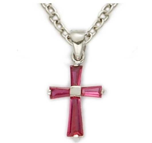Baby's Birthstone Baguette Cross Necklace - Ruby Red