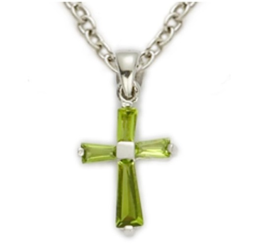 Baby's Birthstone Baguette Cross Necklace - Peridot