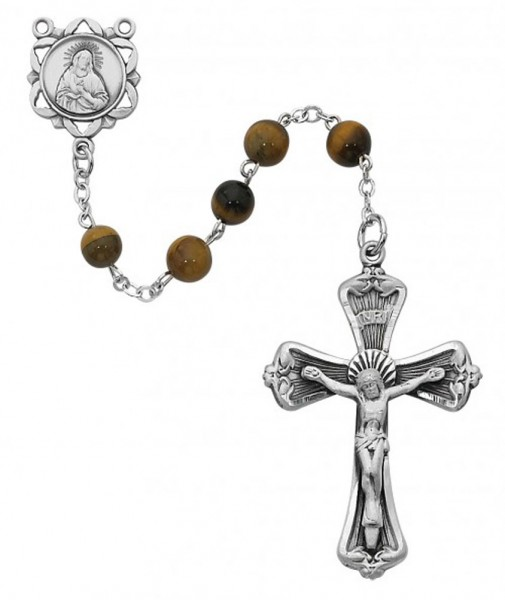 Sterling Silver Genuine Tiger Eye Rosary - Brown