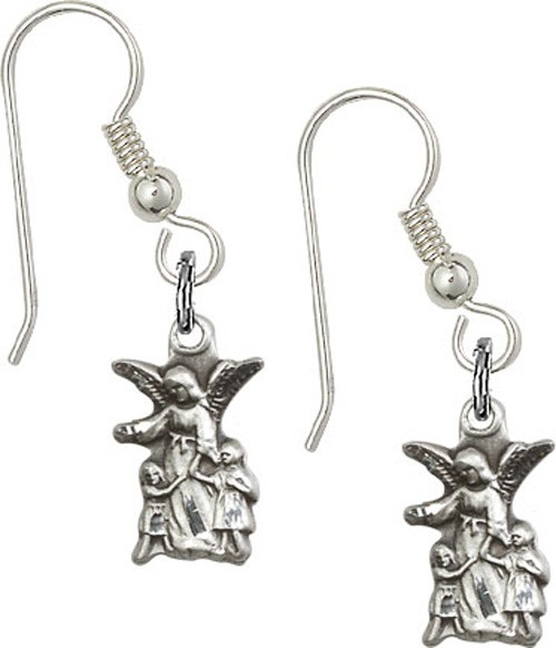Sterling Silver Guardian Angel French Wire Earrings - Sterling Silver