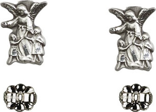 Sterling Silver Guardian Angel Post Earrings - Sterling Silver