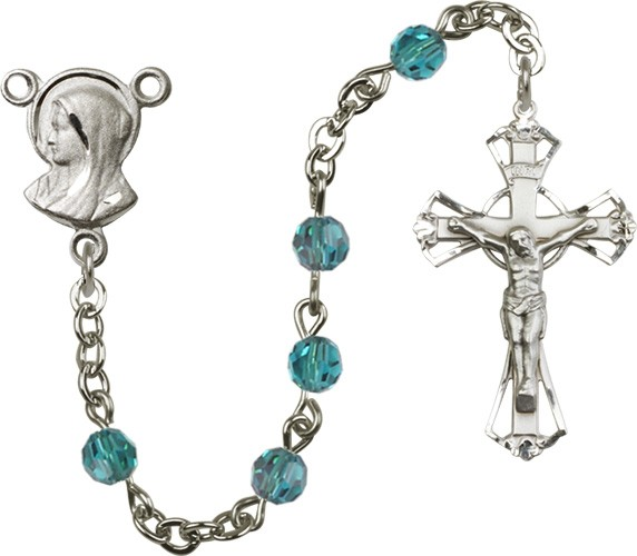 Sterling Silver Heirloom Madonna Rosary Cut Out Crucifix - Zircon