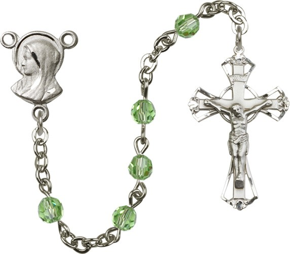 Sterling Silver Heirloom Madonna Rosary Cut Out Crucifix - Peridot