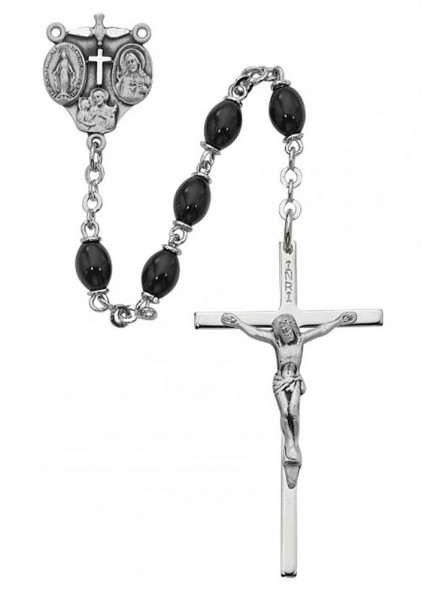 Sterling Silver Holy Family Black Bead Rosary - Black