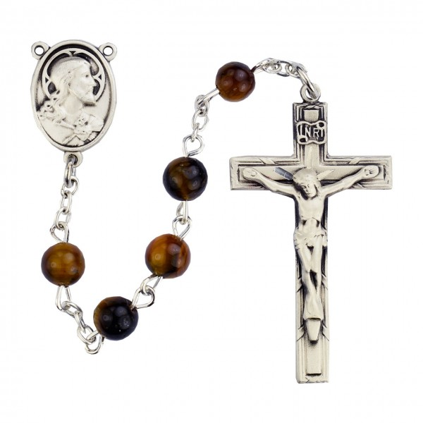 Sterling Silver Holy Family Holy Spirit Brown Wood Rosary - Brown
