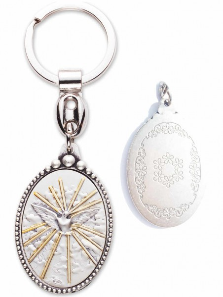 Sterling Silver Holy Spirit Keyring - Silver tone