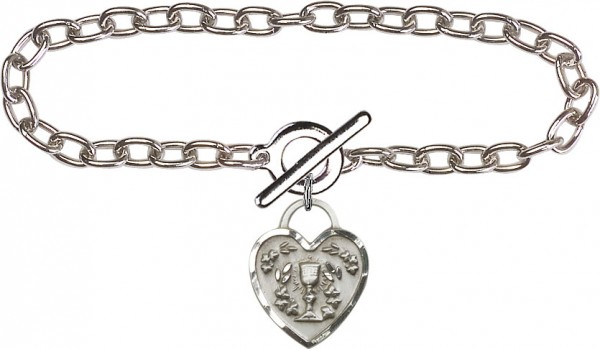 Sterling Silver Lite Cable Bracelet with Communion Heart Charm - Sterling Silver