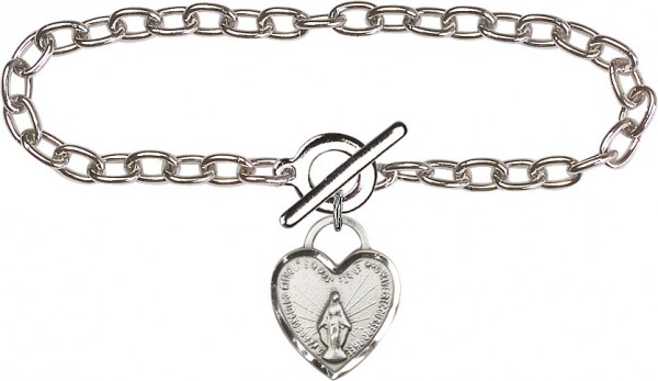 Sterling Silver Lite Cable Bracelet with Miraculous Heart Charm - Sterling Silver