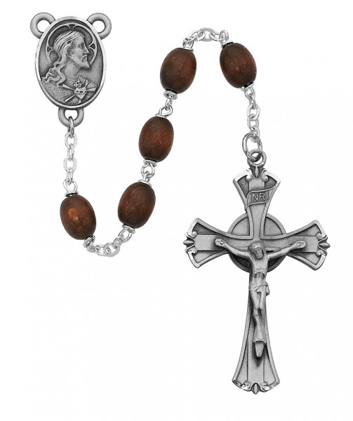 Sterling Silver Men's Classic Brown Oval Wood Bead Rosary - Brown