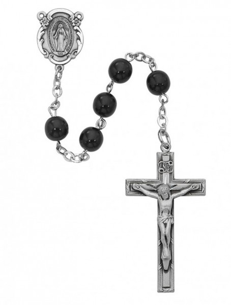 Sterling Silver Men's Miraculous Rosary with Black 7mm Beads - Black