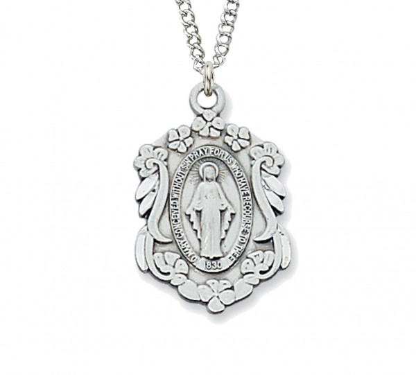 Women's Fancy Scroll and Flowers Miraculous Medal - Silver