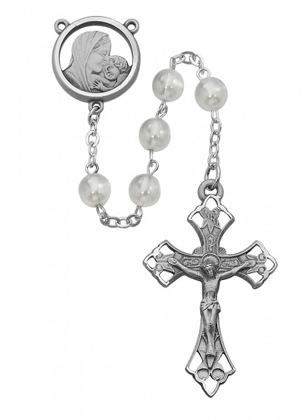 Sterling Silver Mother of Pearl Madonna and Child Rosary - White