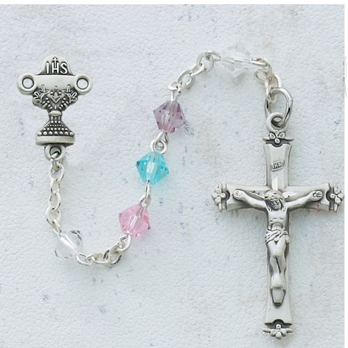 Sterling Silver Multi-Colored Crystal First Communion Rosary - Multi-Color