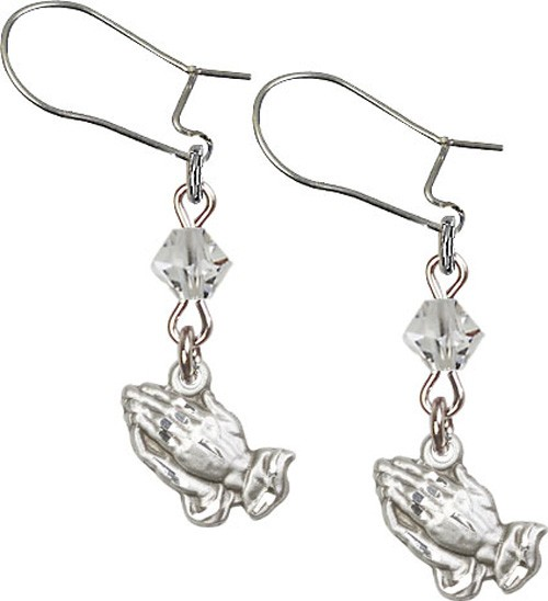 Sterling Silver Praying Hands 'Crystal Bead' Earrings - Sterling Silver