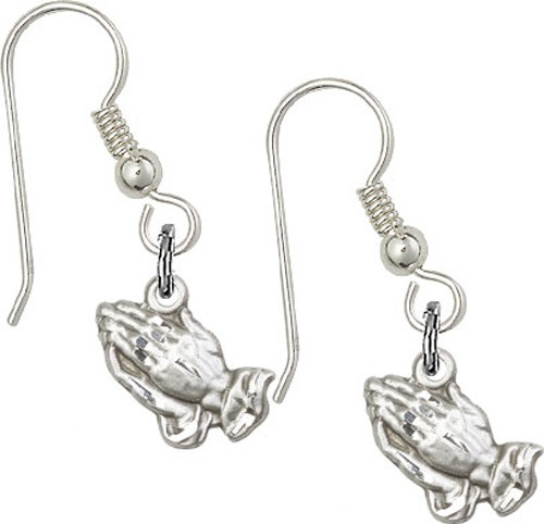 Sterling Silver Praying Hands French Wire Earrings - Sterling Silver