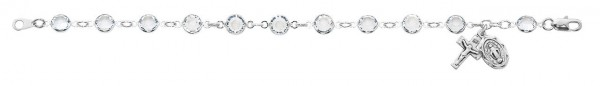 Sterling Silver Rosary Bracelet with Clear Austrian Crystal Beads - Clear